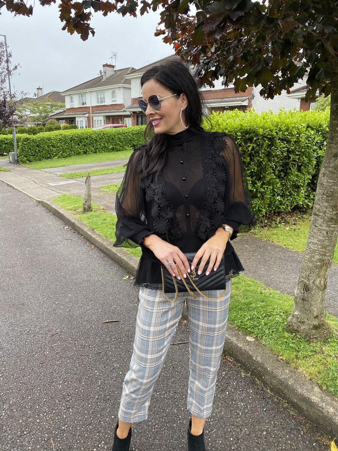 'Slick Plaid' Belted Trouser