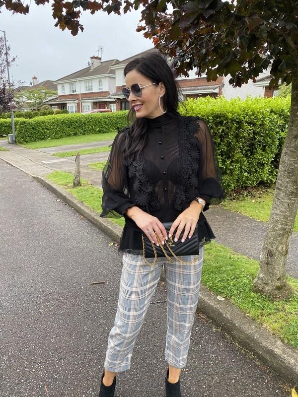 'Slick Plaid' Belted Trouser