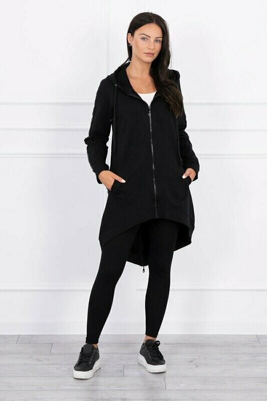 'Fashion' Dipped Back Zipped Long Hoodie in Black
