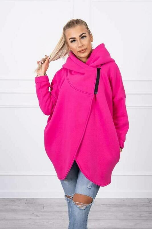 'Short Zip Sweat Jacket' in Cerise Pink