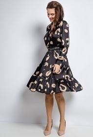 'Gio' Dress in Black & Coffee Gold