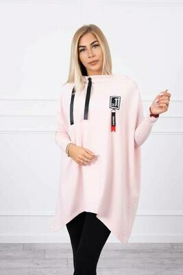 'Lucky 11' Asymmetrical  Sweatshirt in Ice Pink