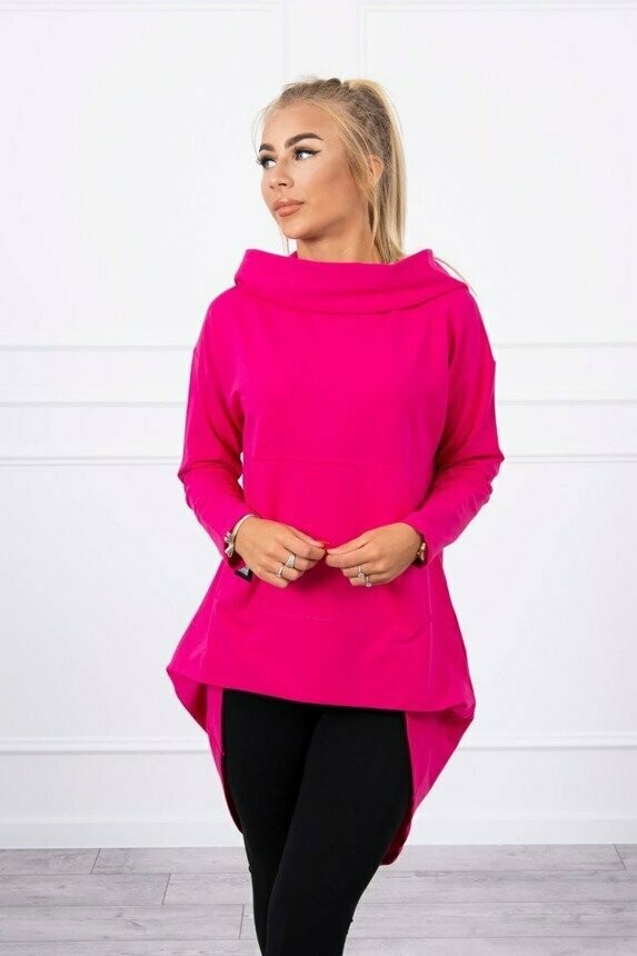 'Cool Cowal' Dipped Hem Sweatshirt in Cerise Pink