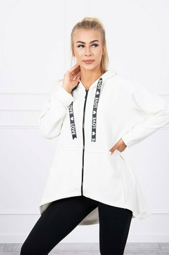 'Love' Zipped Hoody in White