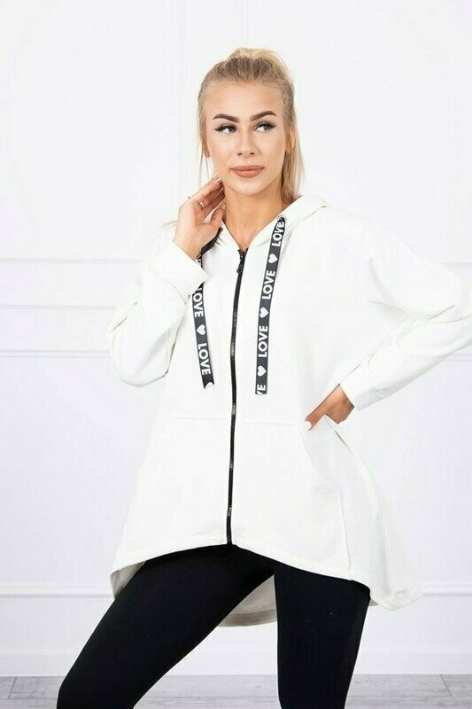 'Love' Zipped Hoody in White