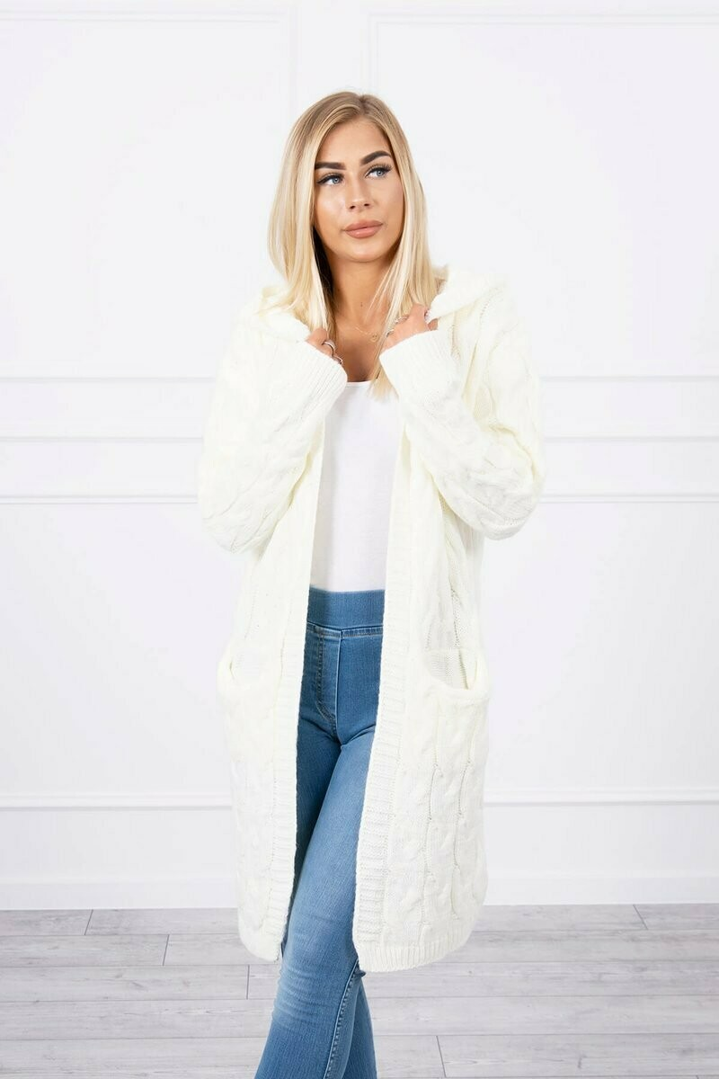 'Cable Cardi' in Ecru White