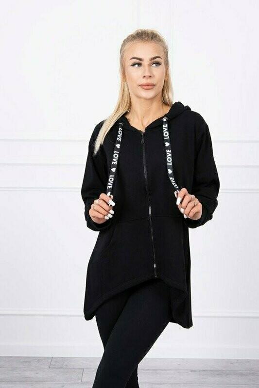 'Love' Zipped Hoody in Classic Black
