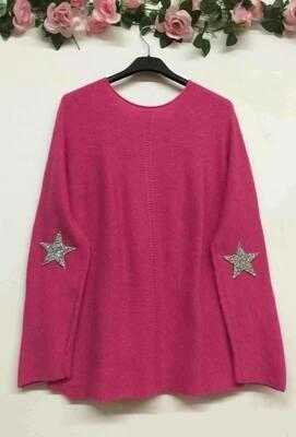'Star Comfy Knit' In Fuschia Pink