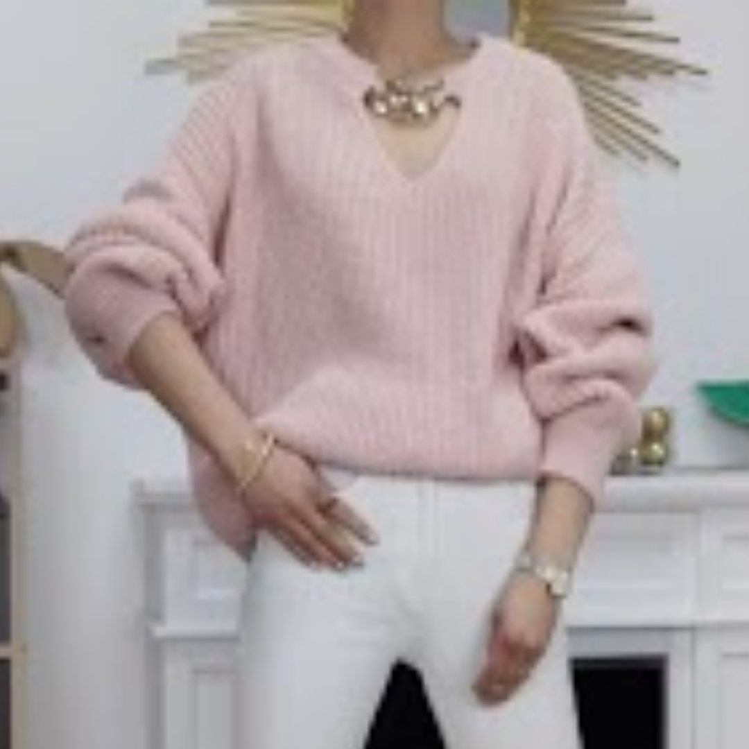'Chain Front Knit' in Pink