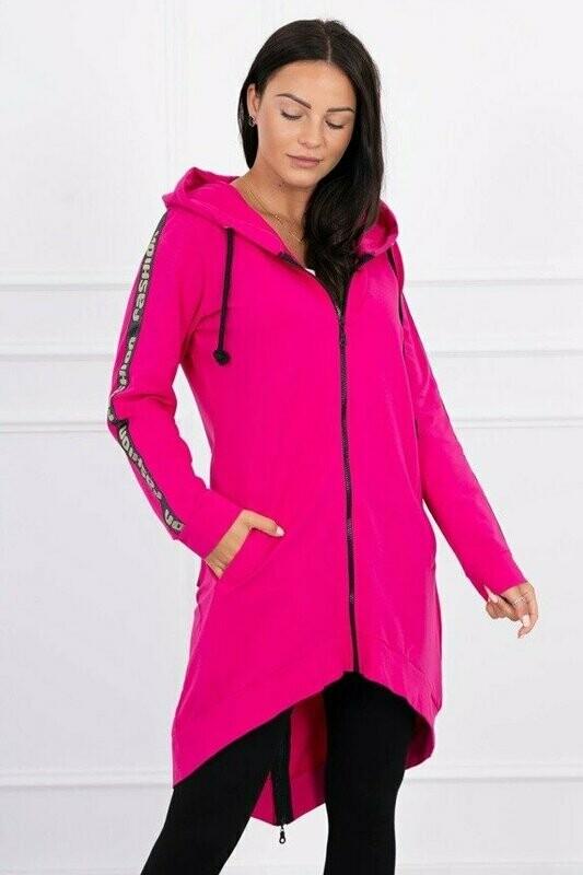 'Fashion Dipped Back Hoodie' in Fuschia