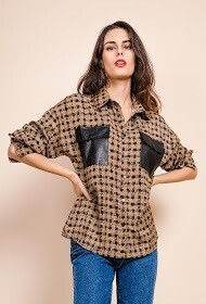 'Coffee Check' Blouse with Leatherette Pockets