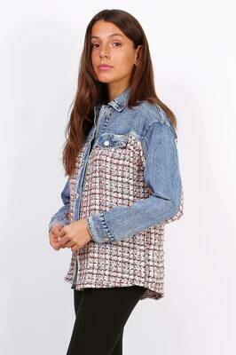 'DeDe Denim' Mix Fabric Shirt