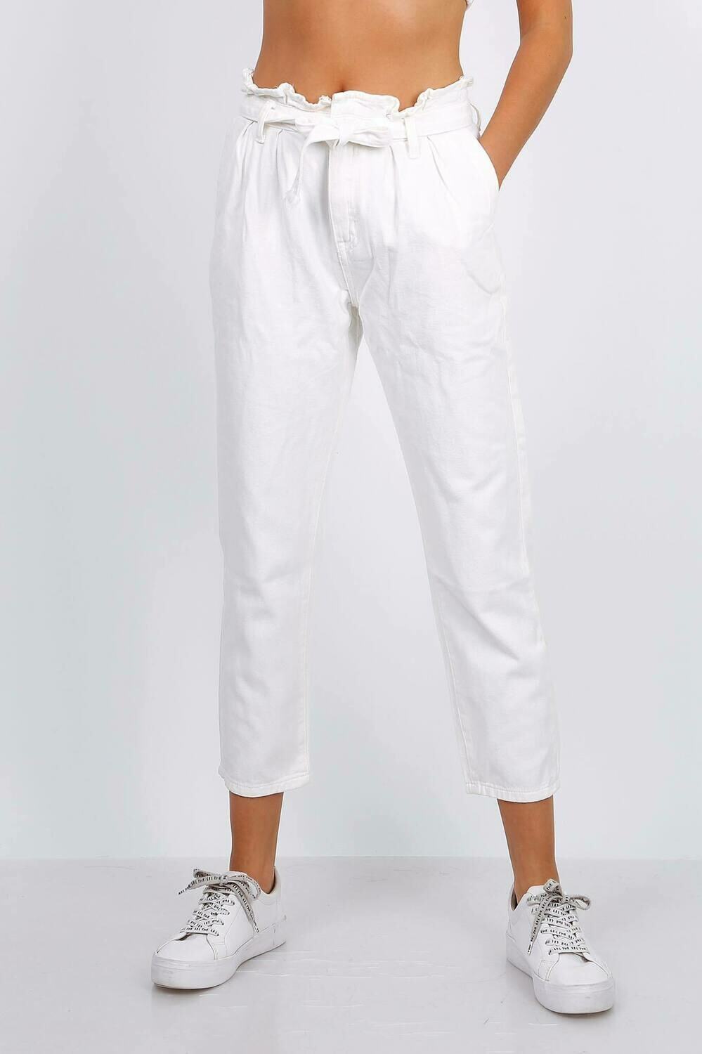 'Bright White' Cropped Trouser