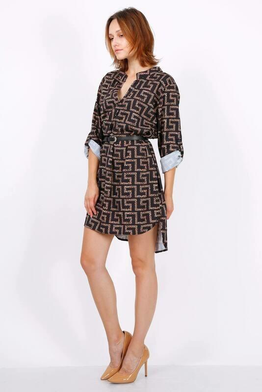 'Designer Inspired' Shirt Dress in Brown