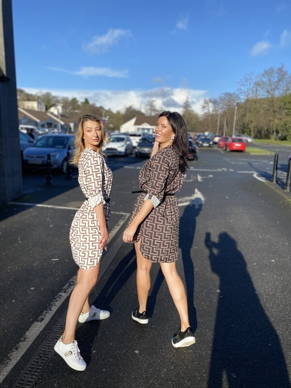 'Designer Inspired' Shirt Dress in Beige