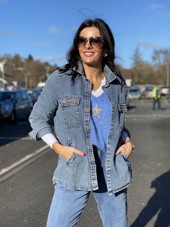'Darci Denim' Jacket in Blue with Diamante Detail