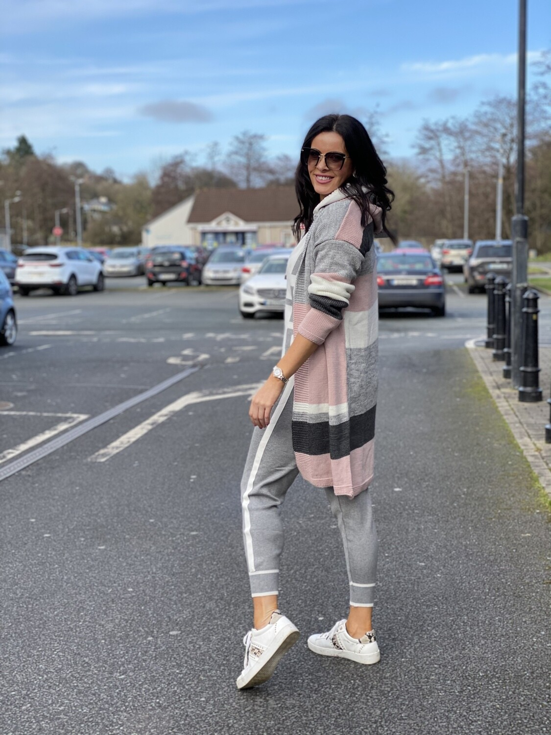 'Fab Four' Cardi in Grey, Pink, Charcoal & White