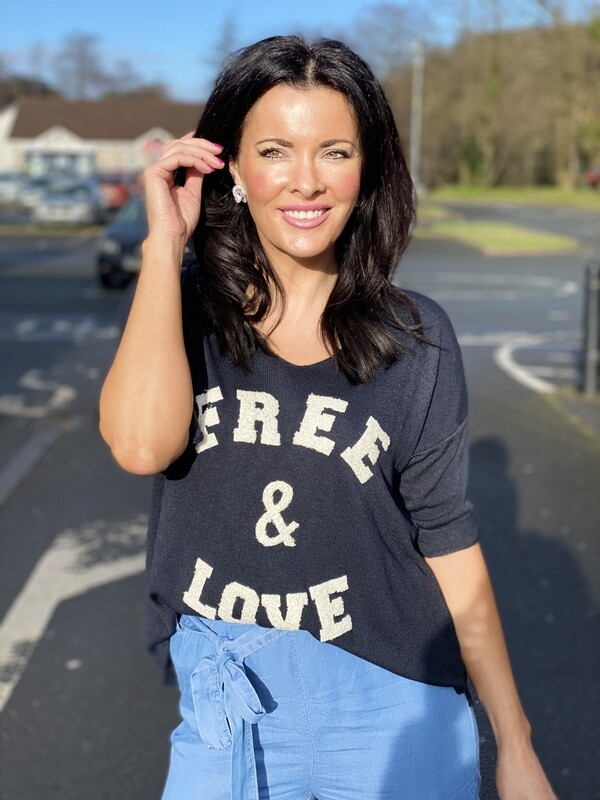 'Free & Love' Casual Top in Navy Blue