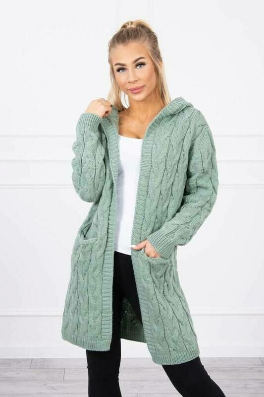 'Cable Cardi' in Light Green