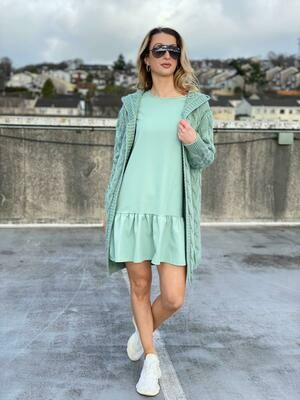 'Free to Flounce' Dress with Frill in Light Green
