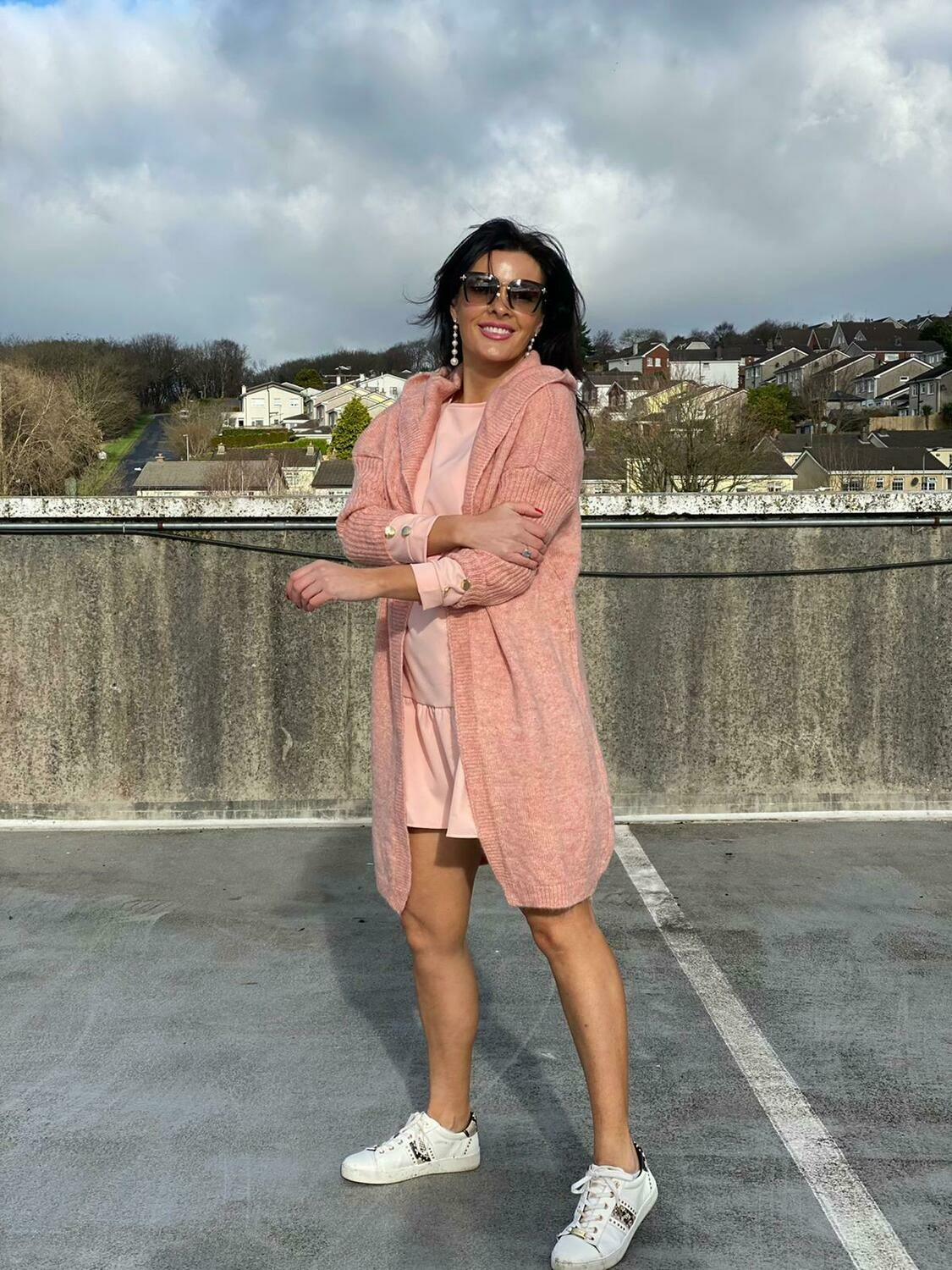 'Free to Flounce' Dress with Frill in Peachy Pink