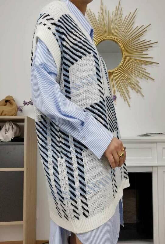 'Insta Girl ' Sleeveless Knit & Stripped Shirt (2 Piece Set)