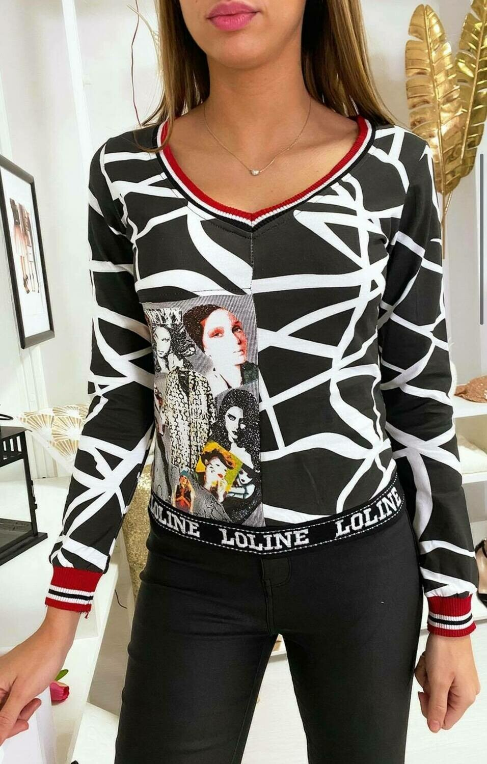 'Moulin' Slim Fit Top in Black & White with Graphics