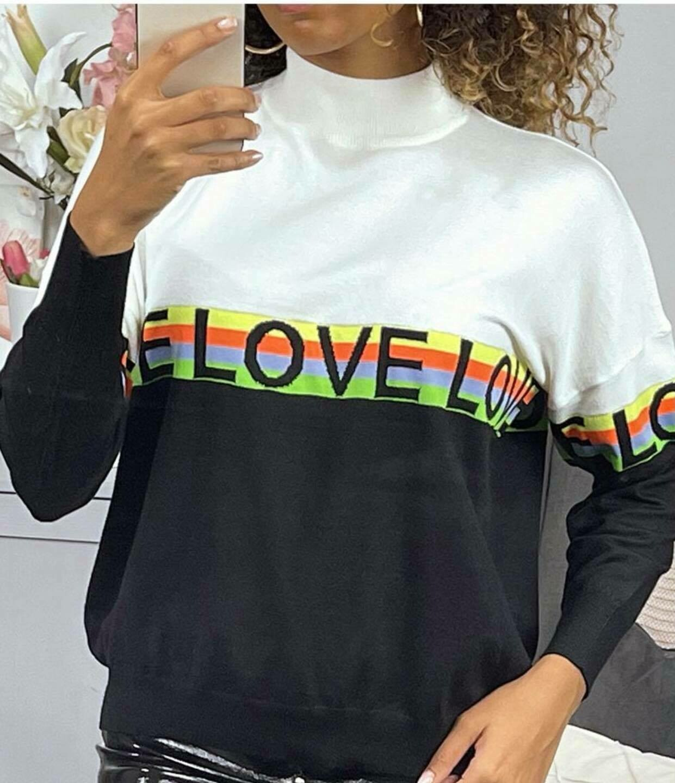 'Love Lexi ' Turtle Neck in Black & White