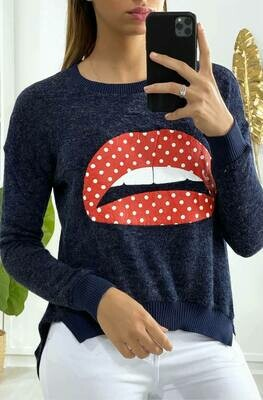 'Kiss Knit' in Navy with Red Polka dot Lips