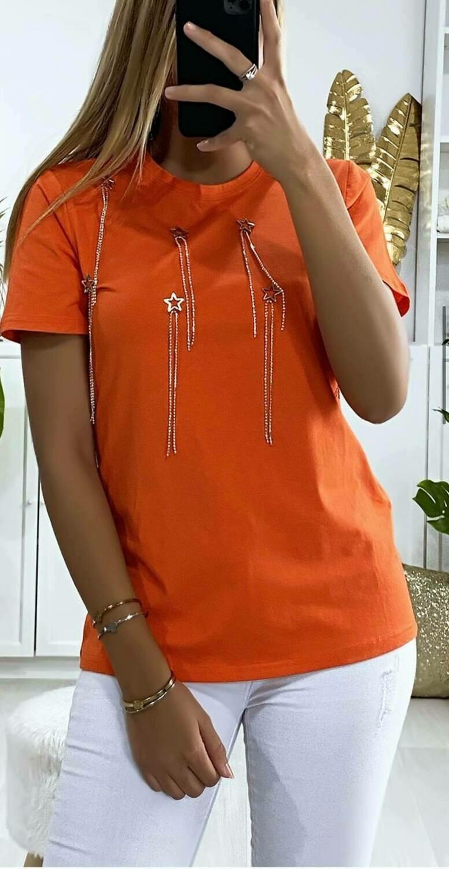'Starburst' t-shirt in Tangerine Orange