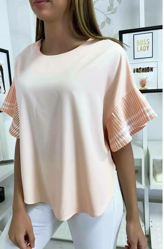 'Fan Sleeve' Top in Peach