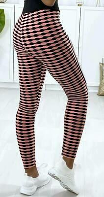 'Push Up' Checkered Leggings in Peach & Black