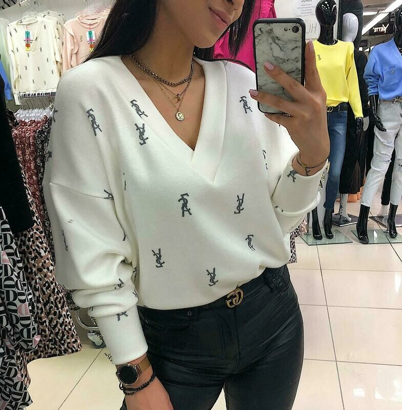 'A Touch of YSL' Soft V-neck Top in White