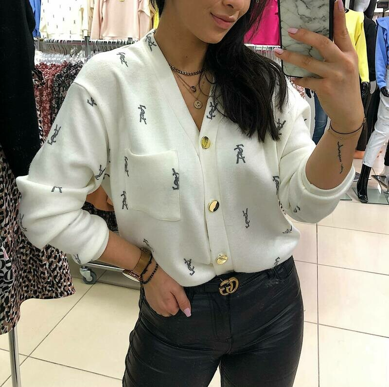 'A Touch of YSL' Soft Cardi Top in White