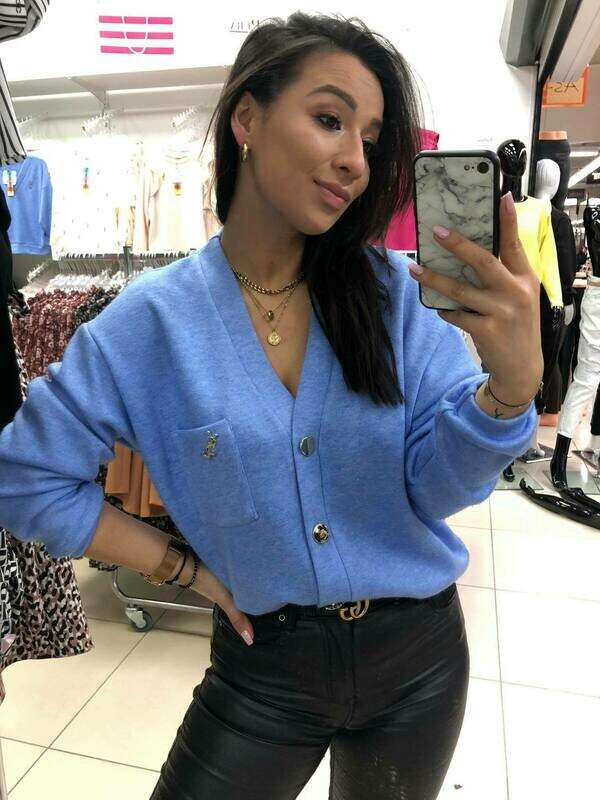 'A Touch of YSL' Soft Cardi Top in Blue