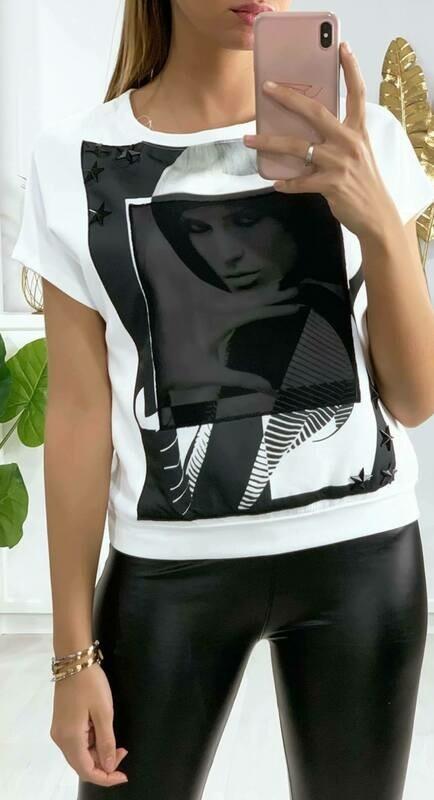 'Kim Motif' Luxury T-Shirt in White