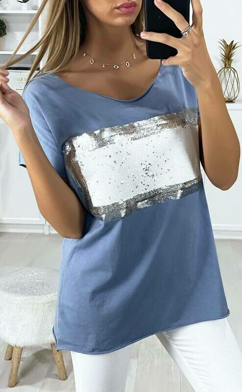 'Silver Touch' T-shirt in Blue