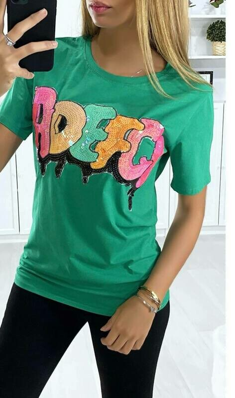 'Kelly Green' T-shirt with Sequin Detail