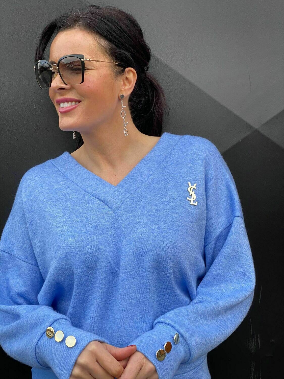 'A Touch of YSL' Soft V-neck Top in Blue