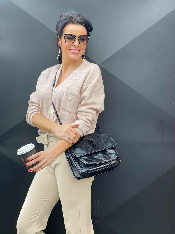 'A Touch of YSL' Soft Cardi Top in Natural Beige