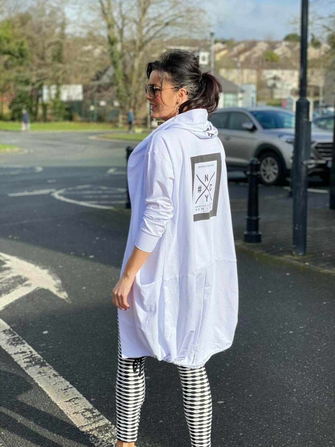 'NY  Cool Casual ' Hoody in White