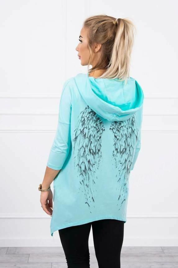 'Spring Angel Wings' Sweatshirt in Aqua