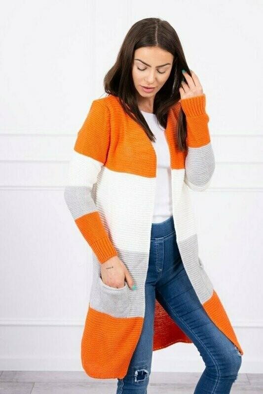 'Trio Wide Stripe' Cardi in Burnt Orange, Grey & White