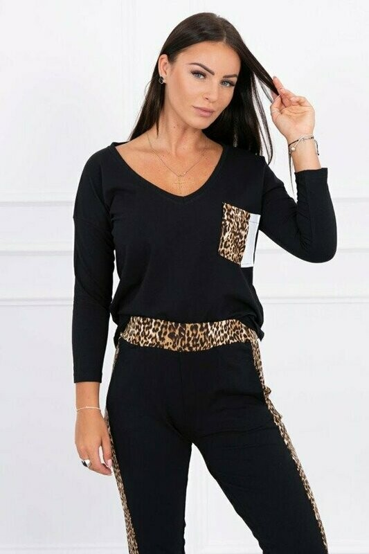 'Leopard Print' Lounge Set in Black