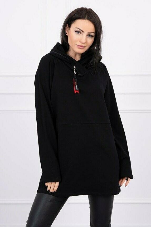 'Zipper Hoodie' Sweatshirt in Black