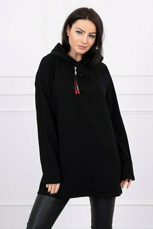 'Zipper Hood' Sweatshirt in Black