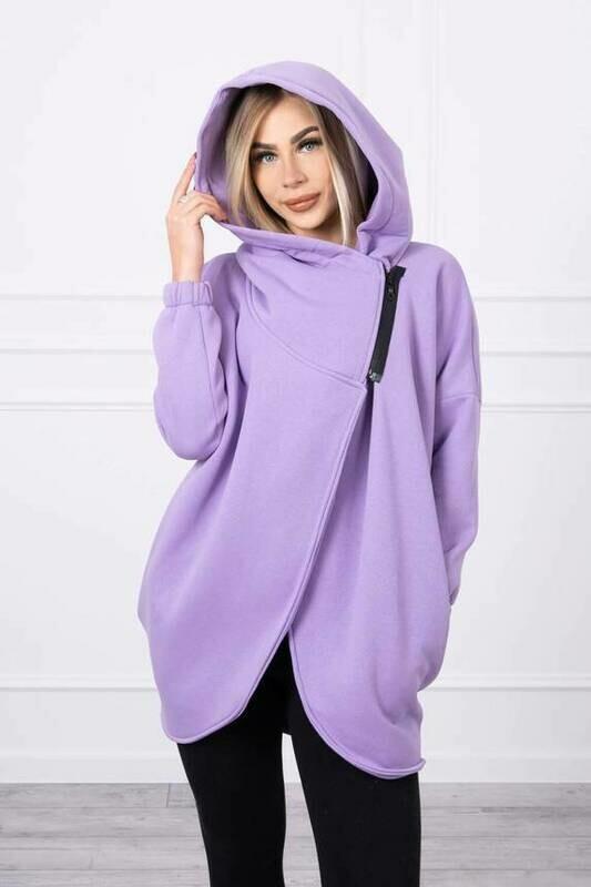 'Short Zip Sweat Jacket' in Purple