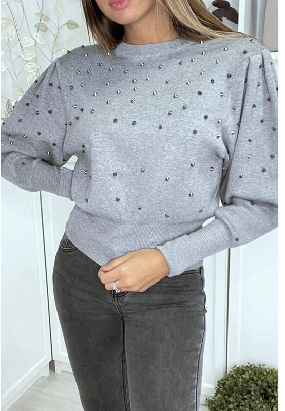 'Silver Grey Batwing Knit with a Little Sparkle'