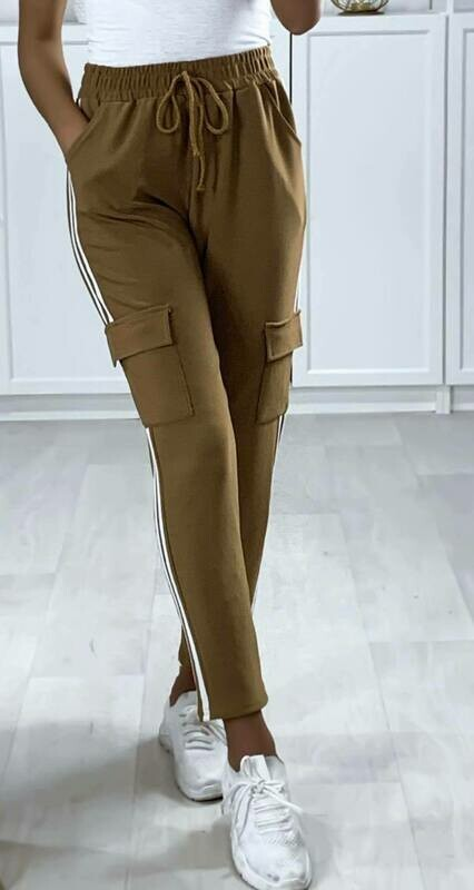 'Coffee Combat' Pants with Side Stripe