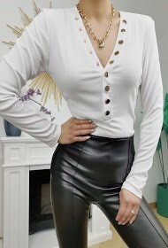 'Gold  Button Fitted Top' in White